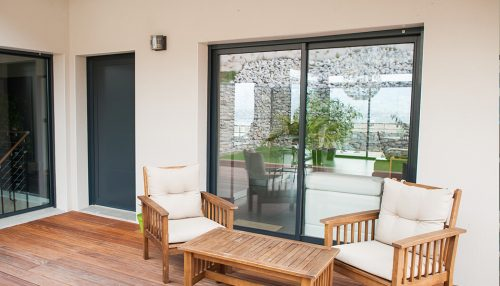 Black aluminium patio door