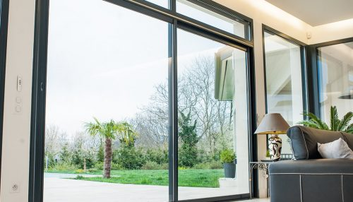 Interior view of a black aluminium sliding patio door