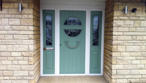 Chartwell green composite door with side panels