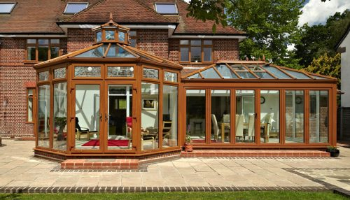 Golden oak effect P Shaped conservatory