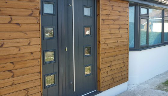 Grey composite entrance door