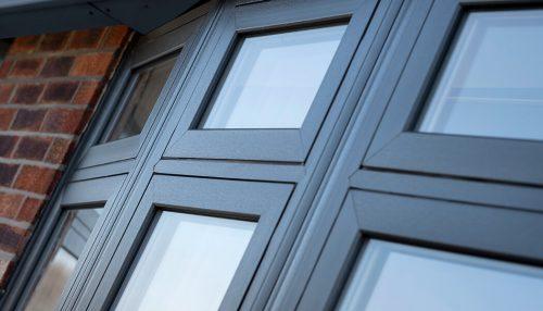 Anthracite grey flush sash window close up