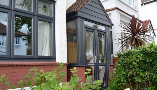 Grey uPVC entrance porch