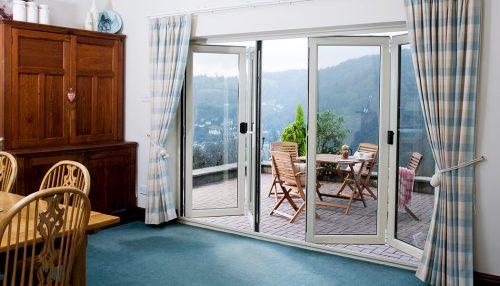 Interior view of an open bifold door