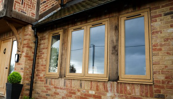 Oak effect uPVC flush sash windows