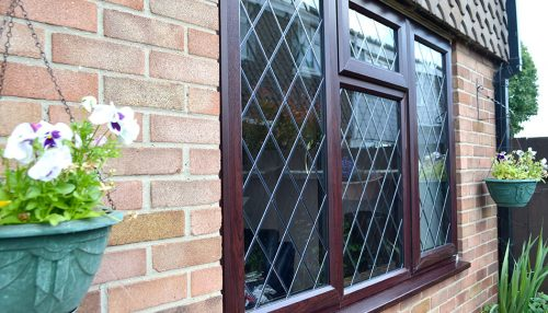 Rosewood uPVC casement window
