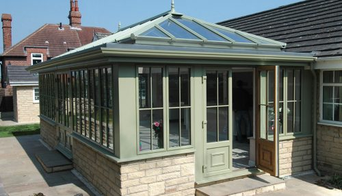 Sage Green uPVC orangery and french doors