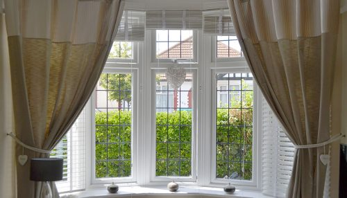 White uPVC bow window interior