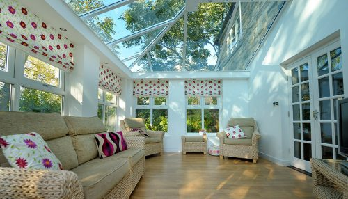 Interior view of a white uPVC orangery