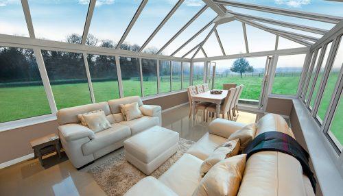 White uPVC conservatory interior