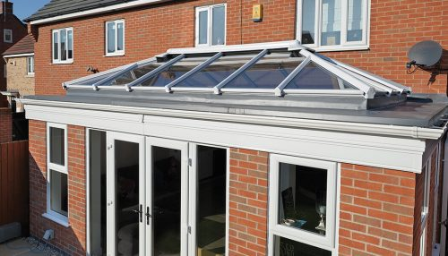 White uPVC orangery roof