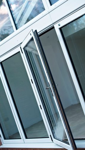 White bifold door close up