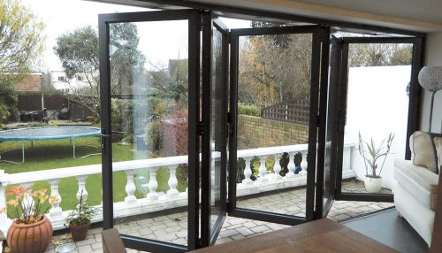 Black bifold door interior view