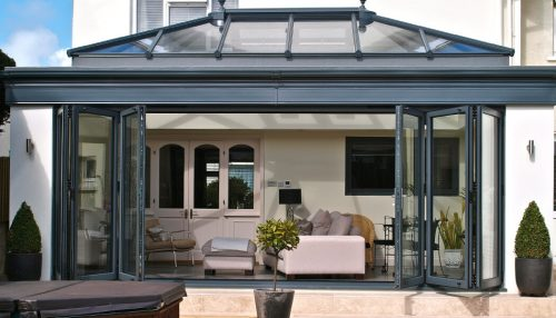 Grey aluminium orangery and bifold doors