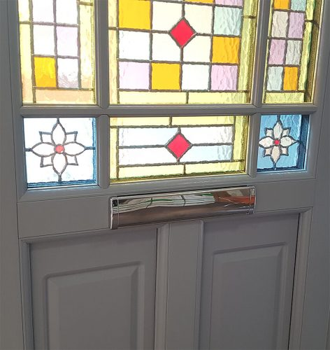 Interior view of a white uPVC entrance door