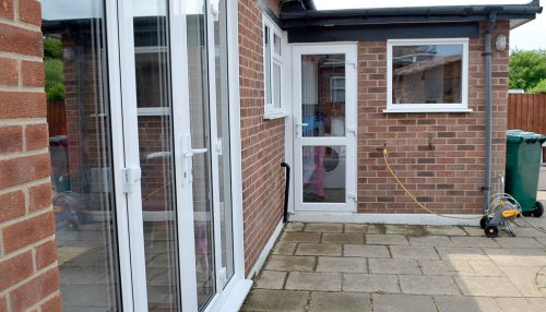 White uPVC french door and back door