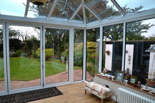 White aluminium conservatory