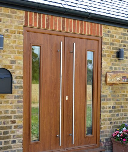 Double Composite Doors - Golden Oak