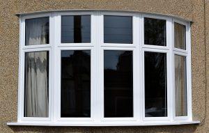 aluminium bay window in white