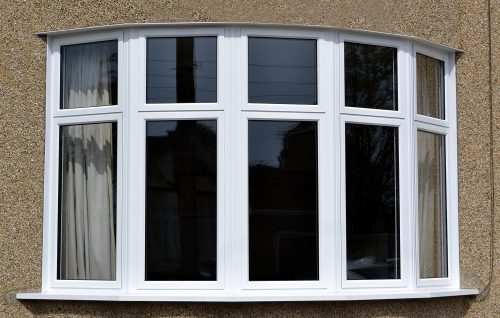 aluminium bay window in white