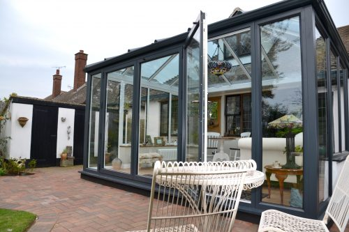 Bifold Door image on an anthracite grey conservatory